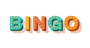 Bingo vector typography. Lottery retro glowing lettering. Game of chance and casino concept. Sparkly 3d signboard with neon light bulbs. Vintage volumetric letters isolated on white background